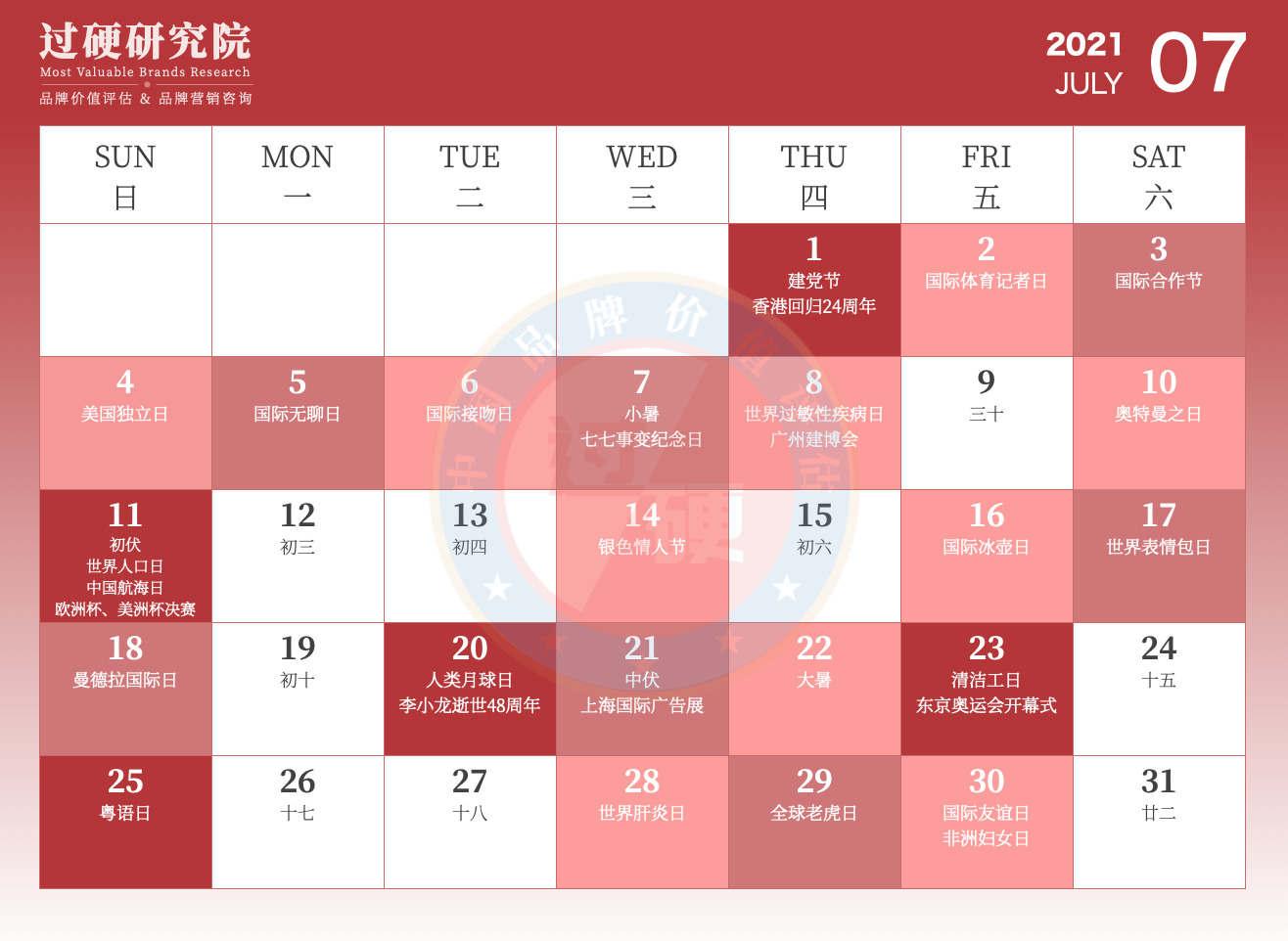过硬2021年7月营销日历