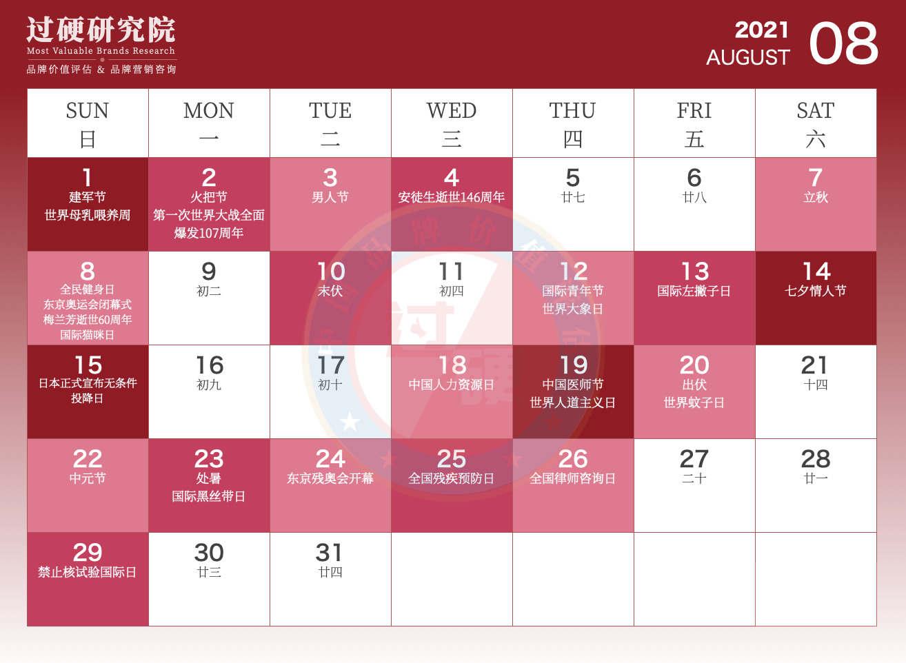 过硬2021年8月营销日历
