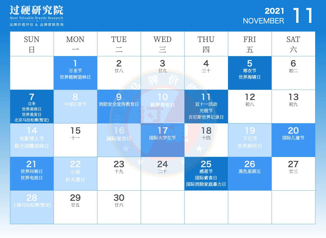 过硬2021年11月营销日历