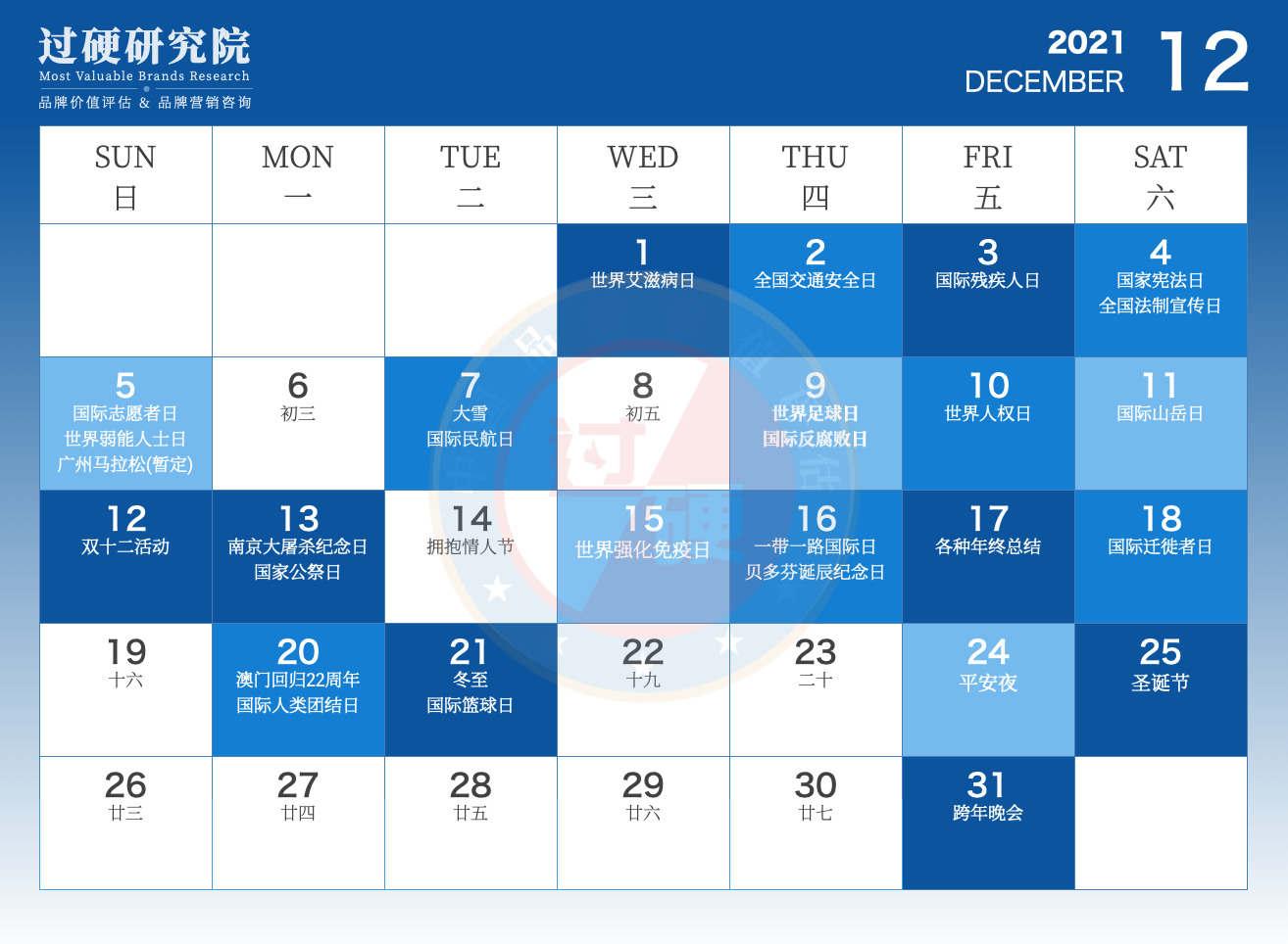 过硬2021年12月营销日历