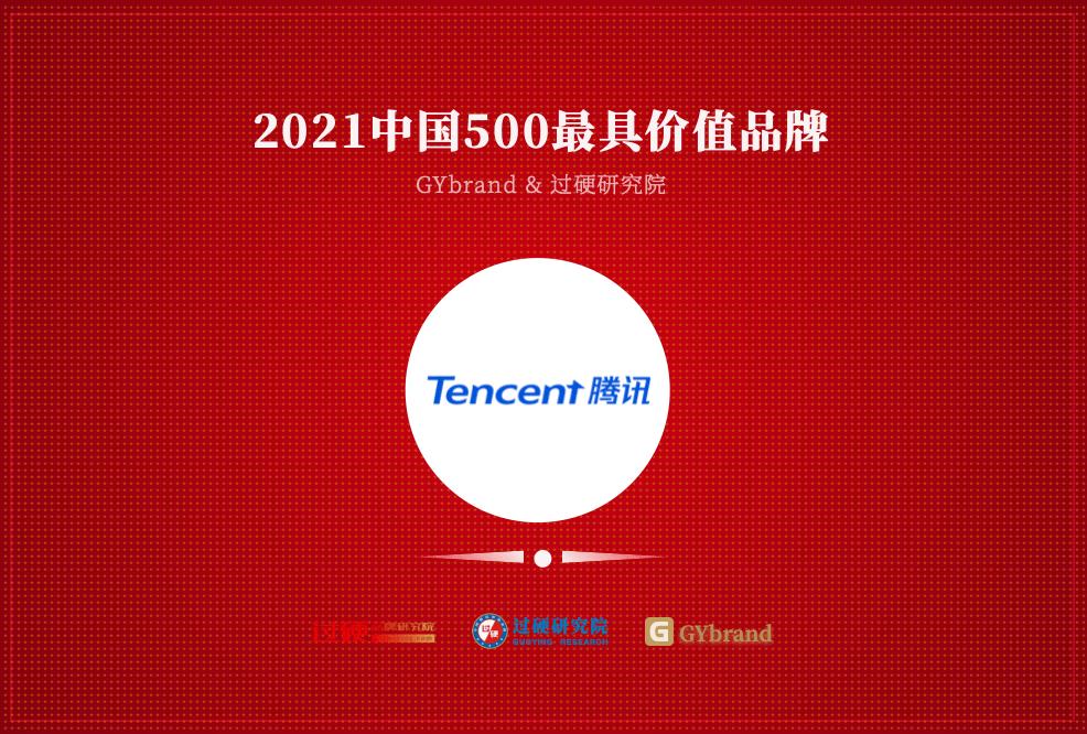 独占鳌头!腾讯再次荣膺GYbrand中国500最具价值品牌