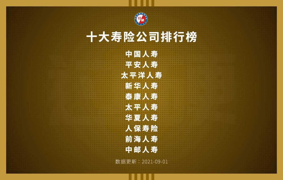 中国人寿保险公司十大排名 寿险公司排行榜前十名单