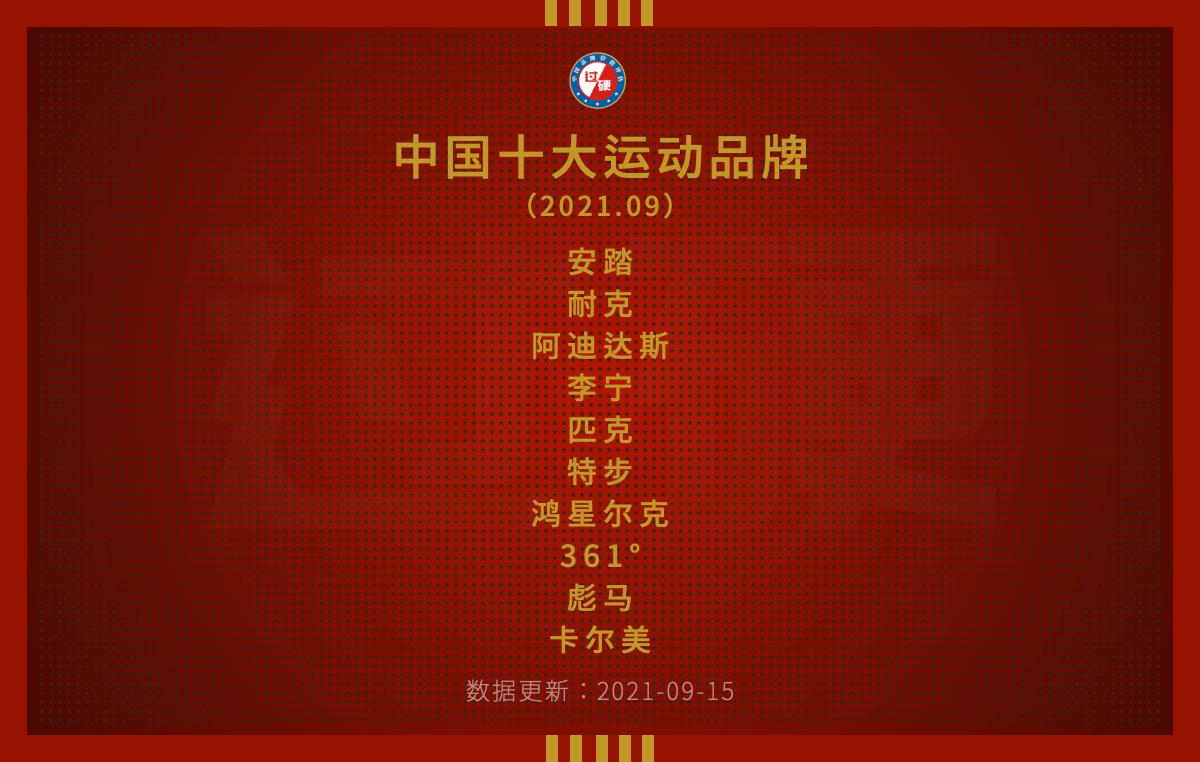过硬金榜发布最新中国运动品牌价值排行榜前十名单